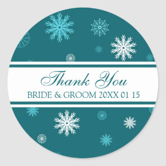 Peacock Blue Thank You Winter Wedding Favor Tags Round Stickers