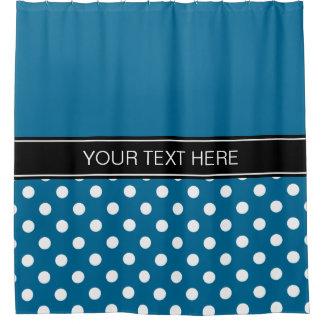 Peacock Blue White LG Dot Black CB Name Monogram Shower Curtain