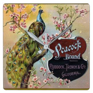 Peacock Brand Citrus Crate Label Square Wall Clock