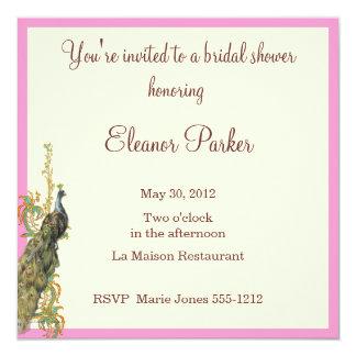 """Peacock Bridal Shower Invitation 5.25"""" Square Invitation Card"""