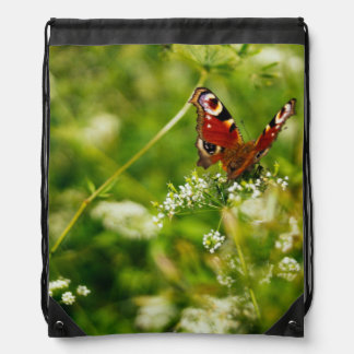 Peacock Butterfly In Green Summer Meadow Drawstring Bag