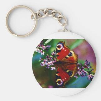 Peacock butterfly key chain