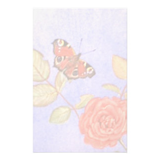 Peacock Butterfly on roses art Customized Stationery