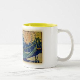 Peacock Chariot Two-Tone Coffee Mug