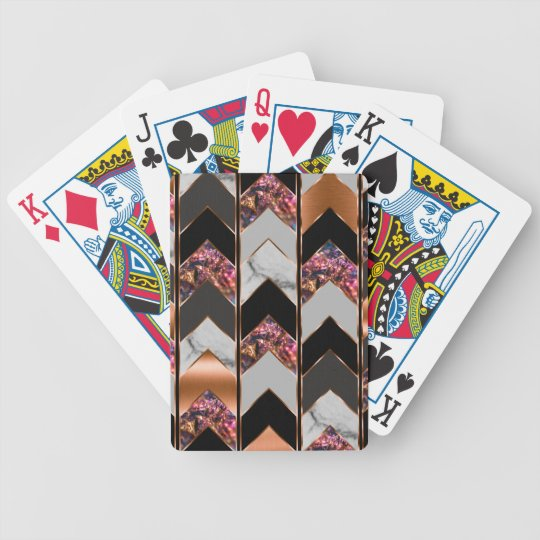 Peacock Chevron Bicycle Playing Cards