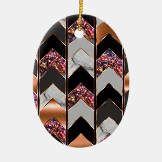 Peacock Chevron Ceramic Ornament