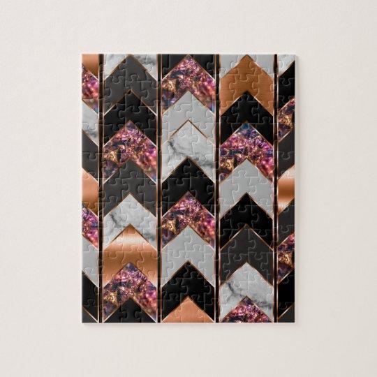 Peacock Chevron Jigsaw Puzzle