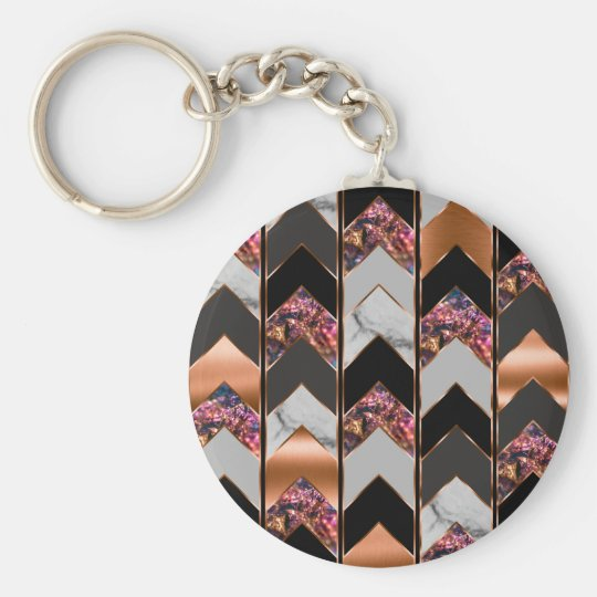 Peacock Chevron Key Ring
