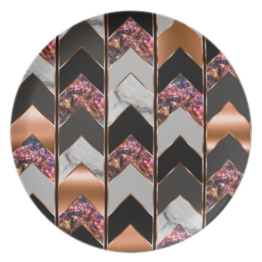 Peacock Chevron Plate