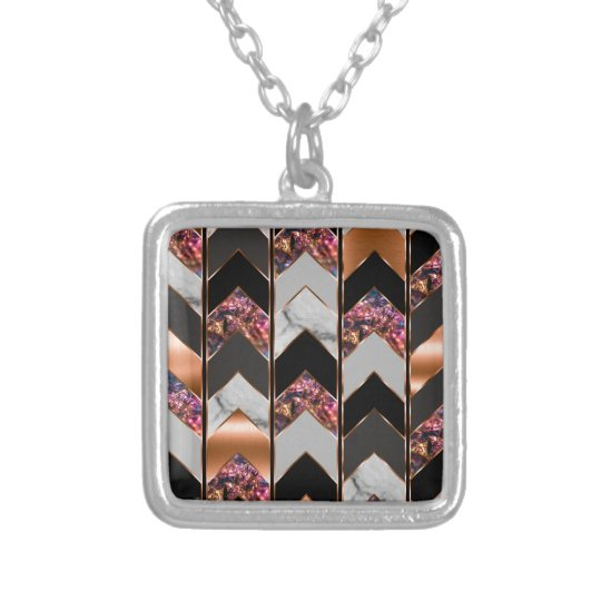Peacock Chevron Silver Plated Necklace