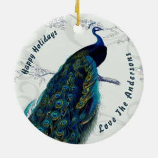 Peacock Christmas PHOTO Ornament Family Couple 2