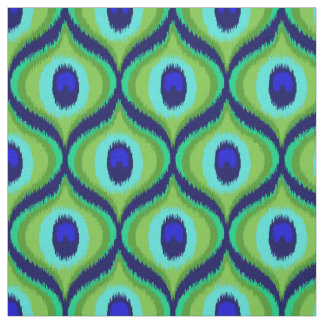 Peacock color moroccan ikat design fabric