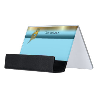 Peacock Colored Band with Feather Desk Business Card Holder