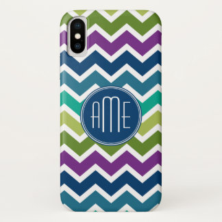 Peacock Colors Chevron Pattern Custom Monograms iPhone X Case