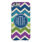 Peacock Colours Chevron Pattern Custom Monograms Barely There iPhone 6 Case