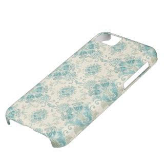 peacock cream teal damask iPhone 5C case