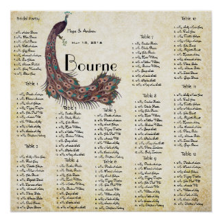 Peacock Damask Wedding Seating Chart 12 Tables Poster