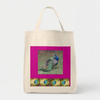 Peacock Design Reusable Tote Grocery Bag.
