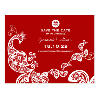 Peacock Double Happiness Chinese Save The Date Postcard