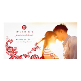 Peacock Double Happiness Save The Date Photo Card