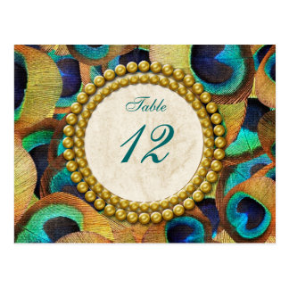 Peacock Dreams Table Number Post Cards