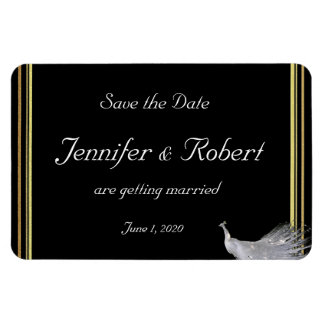 Peacock Elegance in Black Gold White Save the Date Rectangular Photo Magnet