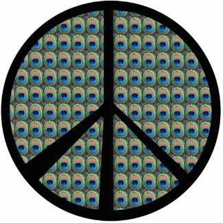 Peacock Eyes Peace Sign Ornament Photo Cutouts