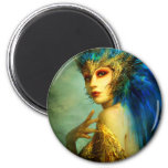 Peacock Fairy 6 Cm Round Magnet