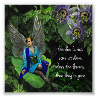 "Peacock Fairy ""Garden Fairy"" Quote Photo Print"