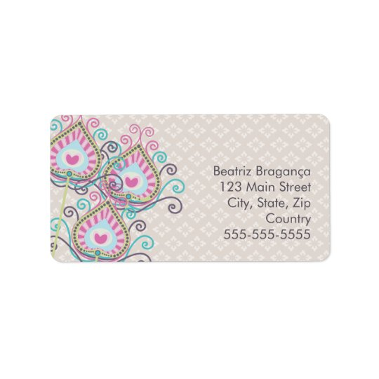 Peacock Fancy Feathers Damask Label