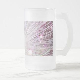 Peacock Fantasy in Pink Glass Beer Mug