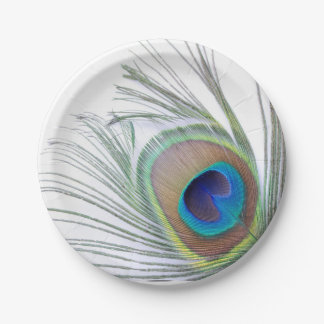 Peacock Feather 7 Inch Paper Plate