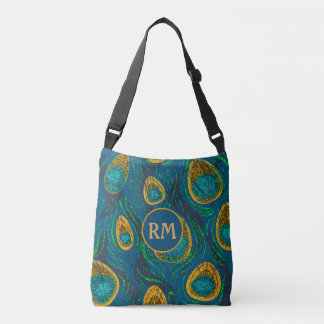 Peacock Feather Abstract Monogram Crossbody Bag