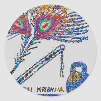 Peacock Feather and Flute - Hare Krishna Round Stickers
