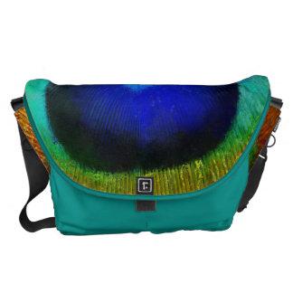 Peacock Feather Art Messenger Bag