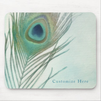Peacock Feather Boho Chic Watercolor Custom Mouse Pad