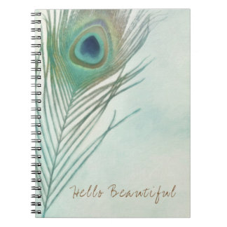 Peacock Feather Boho Chic Watercolor Custom Notebooks