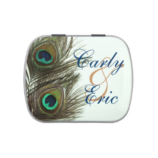 Peacock Feather Bride and Groom Candy Tin