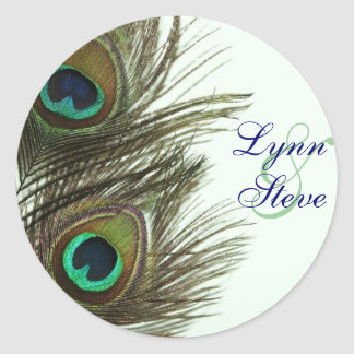 Peacock Feather Bride and Groom Envelope Stickers
