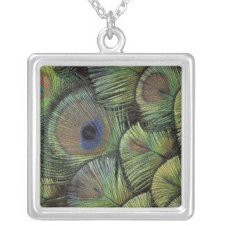 Peacock feather design 2 square pendant necklace