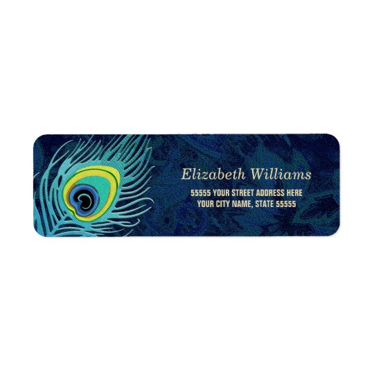 Peacock Feather Design Return Address Labels