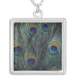 Peacock feather design square pendant necklace