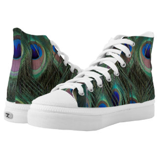 Peacock Feather Detailed Photograph Hightops