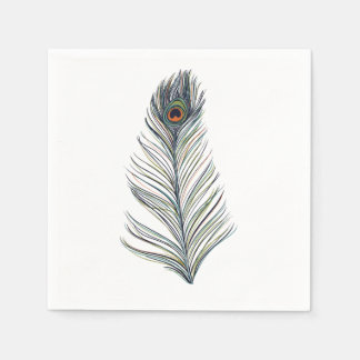 Peacock Feather Disposable Serviette