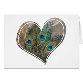 Peacock Feather Double Heart Card
