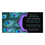 Peacock Feather Drama -Rehearsal Dinner Invitation Photo Card Template
