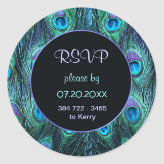 Peacock Feather Drama - RSVP Wedding Seal Round Sticker