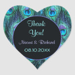 Peacock Feather Drama -Thank You Seal - Customise Heart Sticker