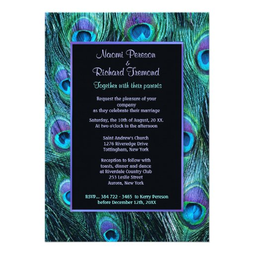 Peacock Feather Drama - Wedding Invitation Invites