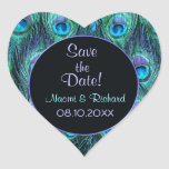 Peacock Feather Drama - Wedding Seal - Customise Heart Stickers